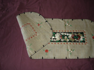 #071  Beautiful Vintage Hand-Embroidered Table Runner 39''/15''(100cm/39cm) 9