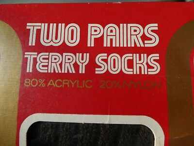 Two Pairs of Vintage 60's / 70's Terry Socks, Unused in box. Prop/film/use. 2