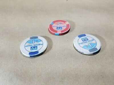 Lot of 3 Fortune Valley Casino Chips One $5, and Two $1 Central City Colorado 5
