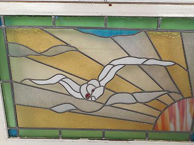 Vintage European Seagull Stained Glass Window Panel (2958)NJ 4