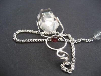 Herkimer Clear Quartz + Garnet Cab Crystal Gemstone w/ Chain Precision Pendulum 2