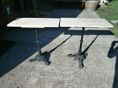 Antique pine table with twin pedestal cast iron legs 9