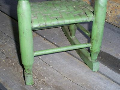 Antique Ladder Back Child's Toy Woven Splint Seat Wood Rocking Chair Old Paint 12