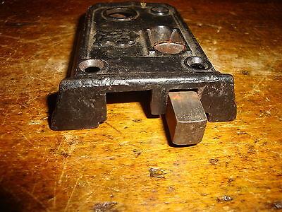 Door Latch Dead Bolt Slide Strike Cast Iron Antique Vintage Black 4