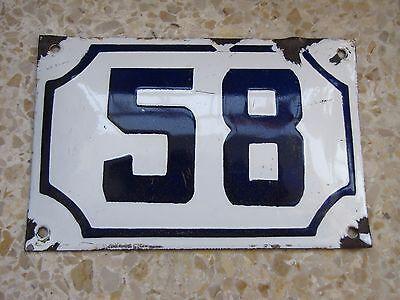 vintage PRE ISRAEL STATE PALESTINE enamel porcelain number 58 house sign # 58 2