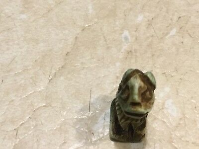EGYPT MUMMY LION AMULET 600BC Hieroglyphics spell  Certificate Authenticity lot 7