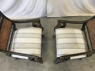 Pair of English Antique Regency Style Cane Back Painted Arm Chairs 5