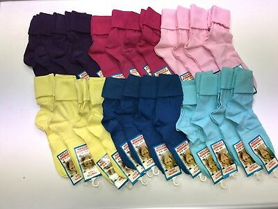 4 x Girls Plain Colour  short slouch socks  soft Cotton ,pink purple blue yellow 5