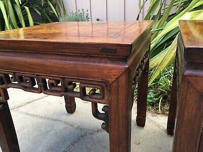 2 RARE ANTIQUE CHINESE HUANGHUALI WOOD SIDE TABLE  wood asian art chair 6
