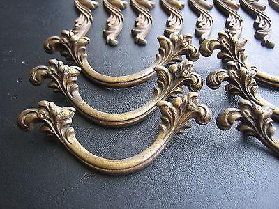 6 Antique Drawer Pulls-8 Drawer Plates Ornate Dresser Key plates Knobs- Vintage 6