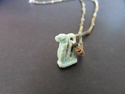 NILE  Ancient Egyptian Cobra Amulet Mummy Bead Necklace ca 1000 2