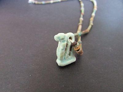 NILE  Ancient Egyptian Cobra Amulet Mummy Bead Necklace ca 1000 2