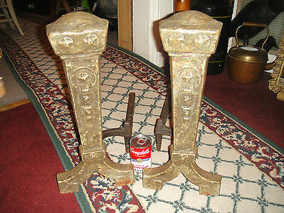 Antique Cast Iron Metal Medieval Gothic Andirons-Fireplace Inserts-Marked 25 9