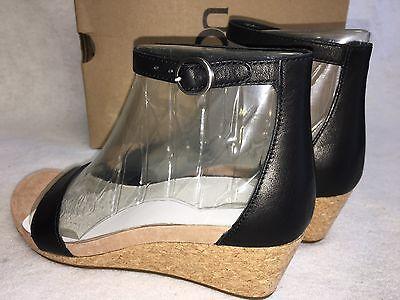 0c0ee57b183 ... UGG Australia Emilia Wedge Ankle Strap SANDALS Black Leather Suede Cork  1016765 10