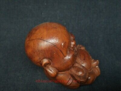 Collect Ancient China Boxwood Wood Hand Carved Happy Buddha Statue Decoration 5