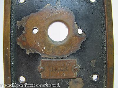 Old EMERGENCY RELEASE No 4 Mount Plate architectural button switch bronze brass 4