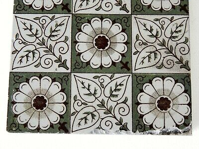 "Antique Victorian Minton Hollins  & Co 6"" x 6"" Tile Stoke on Trent #2 3"