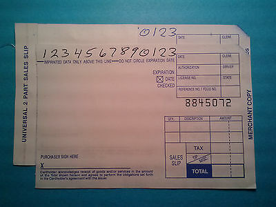 4,000 Short 2 Part Truncated Credit Card Manual Imprinter Sales Slips Draft Form