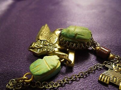 Egyptian Revival Scarab Sphinx W/ Chain Vintage Brooch Pin 6