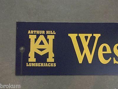 "Vintage ARTHUR HILL / WESTFIELD st STREET SIGN 42"" X 9"" GOLD LETTERING ON BLUE 2"