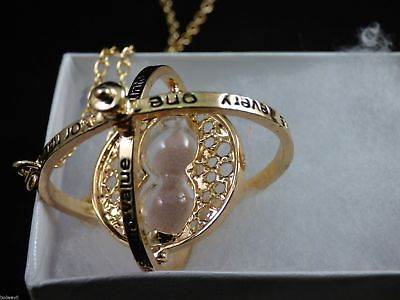Harry Potter Gold Time Turner Hermione Granger Rotating Hourglass Necklace NICE! 3