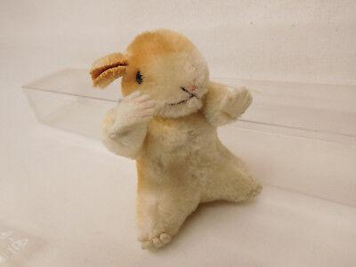 MES-52286Älterer Steiff Hamster H:ca.9cm mit Holzwollstopfung mit Knopf, 4