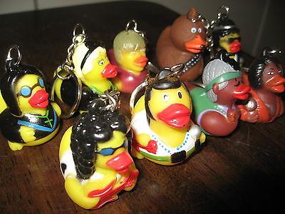 9 Rubber Duck Key Chain Lot Rock Star Duckmainia Ducky Ozzy Elvis Garcia Aretha