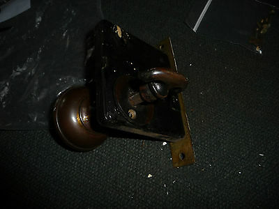 #56D antique vtg  metal door knob with back plates & lock 2