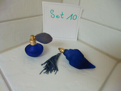 VintageCobold,blau Parfum Flasche,Flancon,Glas,Muschel -Selten Rarität - Set 10 3