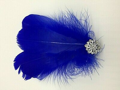 Asst Colour Silver Gem Feather Fascinator Diamante Hair Clip Vintage Style 12