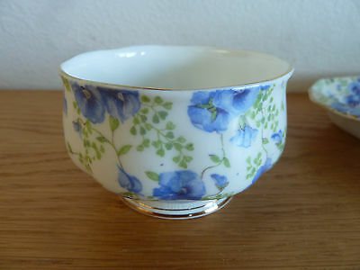 Royal Albert  Blue Pansy Chintz  Crown China  Creamer Sugar & Tray  AS IS