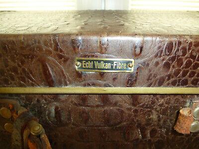 Real Volcano Fibre Suitcase um 1910 Vulcanised Fibre Travel Cases 6