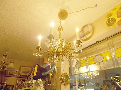 Antique Brass 5 Arm Crystal Prism Chandelier from Bay Area Architectural Salvage 4
