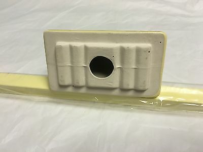 "1950's NEW OLD STOCK  Bathroom  Towel Bar Porcelain Ends Wood Bar YELLOW 26"" 7"