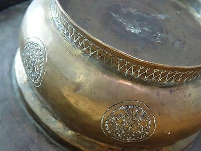 Antique Islamic / Ottoman / Persian  Arabic Copper or Brass hand wash dish bowl 12 • CAD $1,066.07
