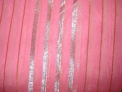 Ladies / Girls Pink Chiffon Saree With Silver Stripes & Zari Border 4