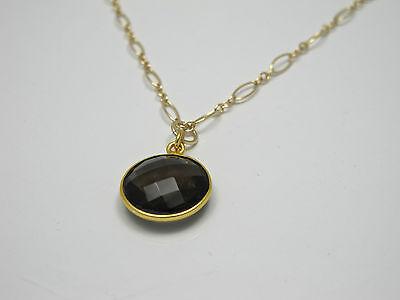 Smoky Brown Quartz Bezel 15mm Round Gemstone Gold Filled Necklace 4