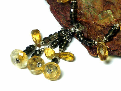 Smoky  QUARTZ / CITRINE   Gemstone  Necklace  Sterling  Silver  925 - Boxed 5