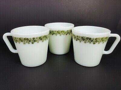 Vintage Retro 3 Pyrex Green Flowers No 1410 Mugs Coffee Cups 300 ml 10.14 oz. 2