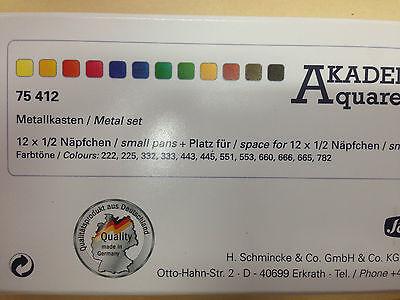 Schmincke Akademie Aquarell Watercolour Travel Set - 12 Half Pans & 12 Empty