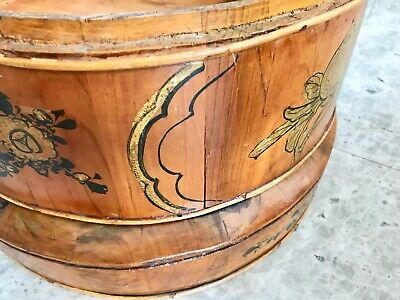 "Antique 21"" Chinese Bamboo and Wood 1858 Wedding Basket with Chinese Lady 8"