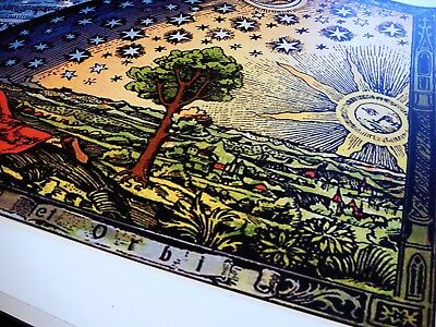 FLAMMARION ENGRAVING 1888: Psychedelic Flat Earth Poster Print of Firmament Dome 4