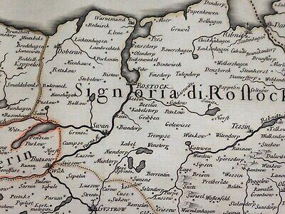 Germany Mecklenburg Dated 1692 Giacomo De Rossi Large Antique Engraved Map 8