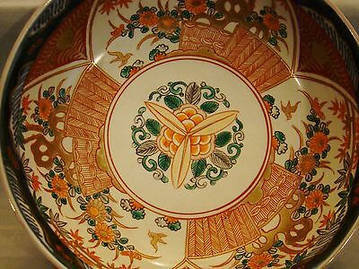 "Antique Japanese 19th Century Meiji Imari Porcelain Large Three Lobes Bowl 9""+ 2"