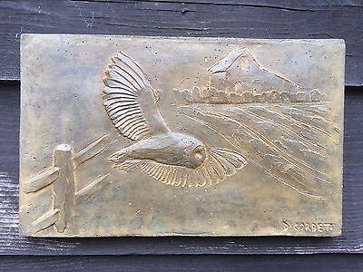 Owl cast stone wall plaque, antique effect owl garden ornament, barn owl artwork