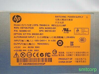 HP HSTNS-PD29 643955-101 750W common slot platinum plus PS DPS-750AB-3 A