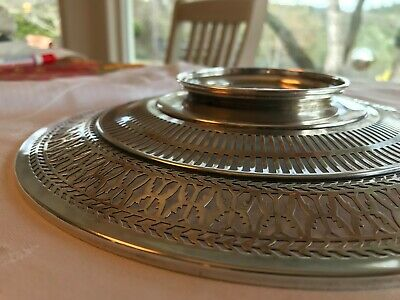 """Antique Sterling Silver Watson Co Reticulated Sandwich Plate Tray 9.5"""" Stunning 6"""