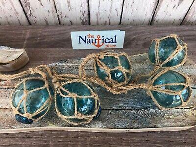 "(5) - 2"" Aqua Glass Fishing Floats On Rope ~Nautical Fish Net Decor ~Light Blue 6"