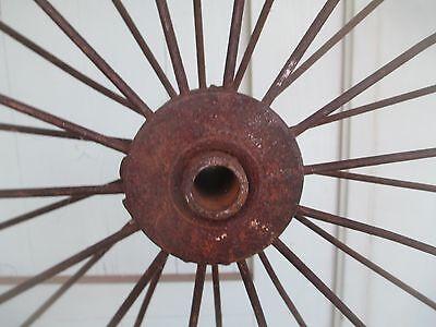 """Antique 28"""" pair IRON WHEELS industrial - steampunk SALVAGED modern design PARTS 2"""
