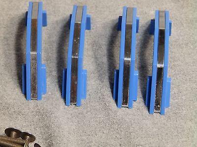 7 Vintage Blue Chrome Cabinet Door Drawer Pulls Old Hardware NOS With Screws 4 7